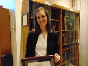 Laurel Dezieck, winner of the 2014 Gerald F. Berlin Creative Writing Award